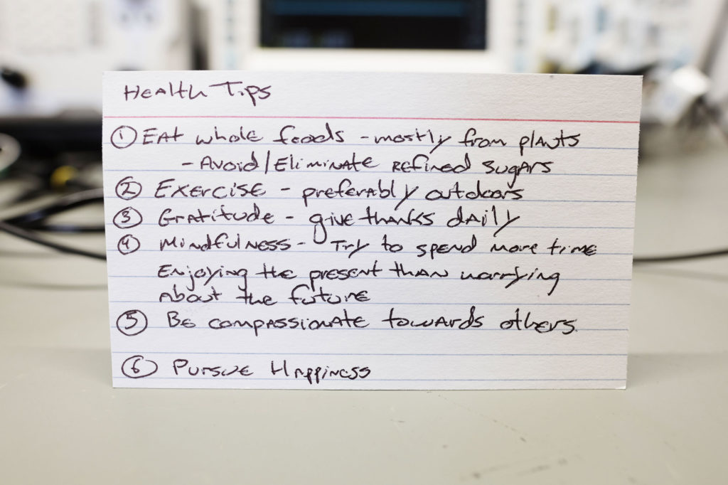 Simple Health Tips on an Index Card