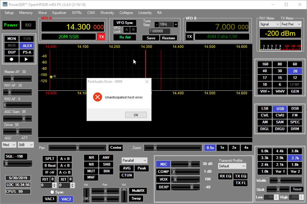 OpenHPSDR PowerSDR mRX PortAudio Error -9999